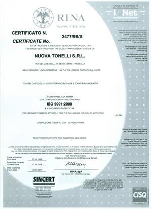 Certificazione norma ISO 9001:2000